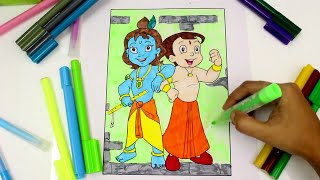 Chhota Bheem and Krishna Coloring page, Coloring Chhota Bheem cartoon, chota bheem coloring for kids