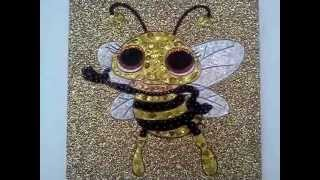 Cuadro Anylu: Abeja feliz en fondo dorado