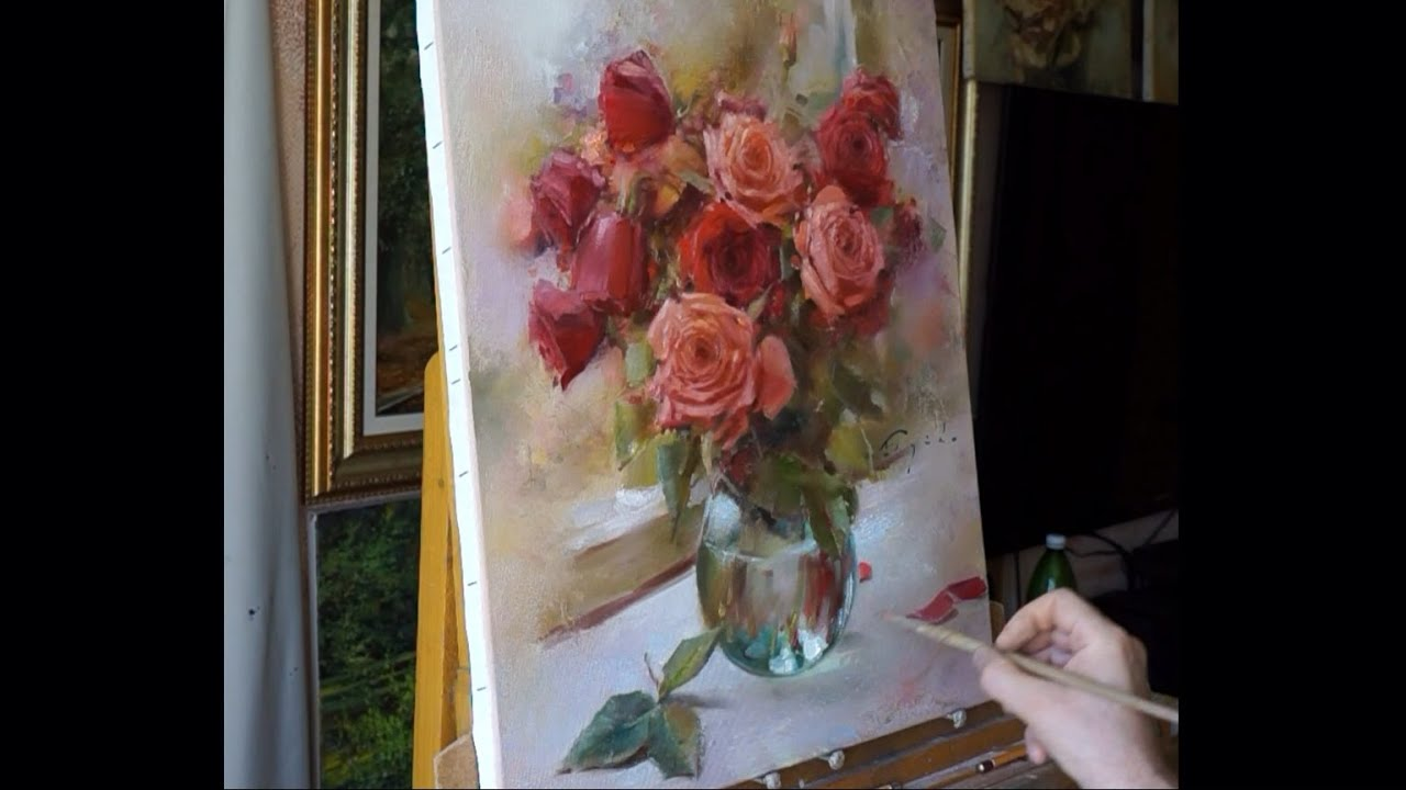 Process of creating oil painting Yesterdays roses