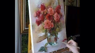 Process of creating oil painting. Yesterday's roses.