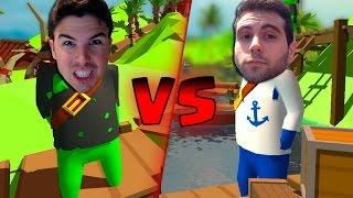LA BATALLA DEFINITIVA | Stupid Raft Battle Simulator | Willyrex Vs Vegetta