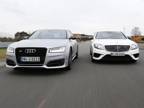 audi s8 plus vs mercedes s63 amg road test - youtube