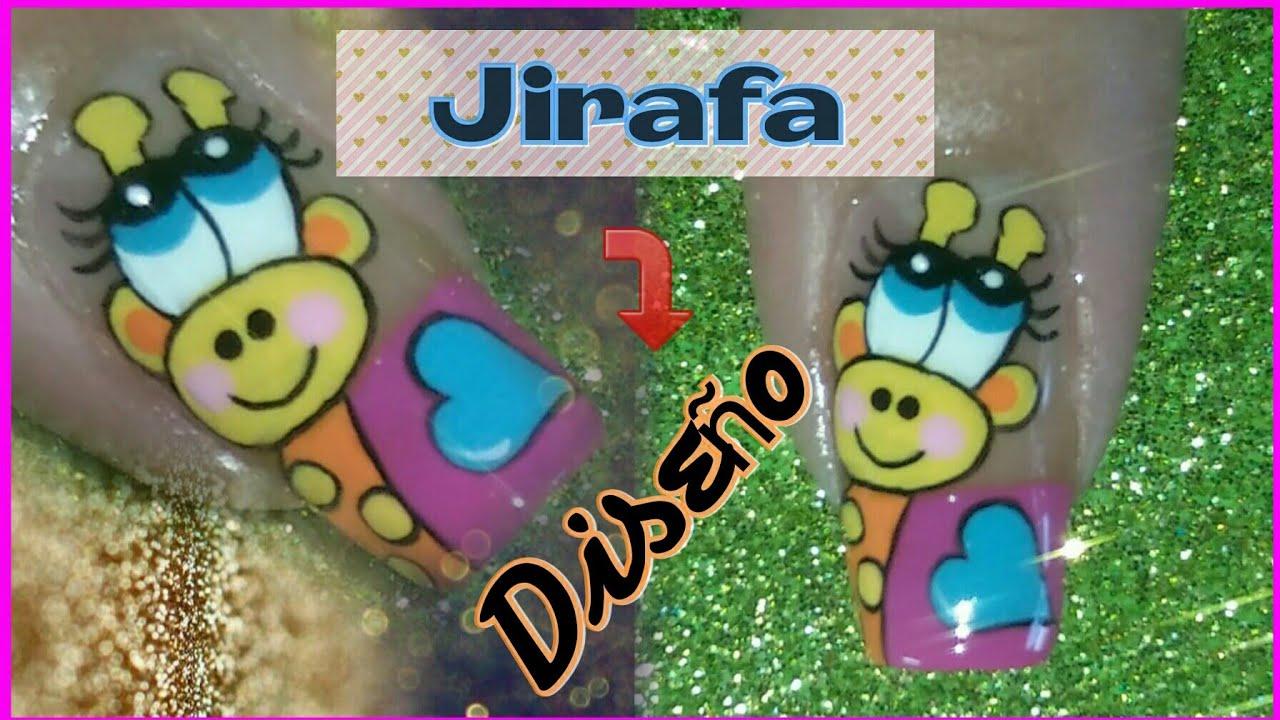 Decoración de uñas Jirafa - YouTube