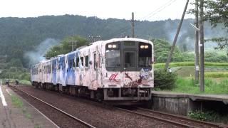 のと鉄道七尾線で運転されたアニメ『花咲くいろは』ラッピング車の3重連運転。 この1号車が約2年半の運行期間を終え、ラッピングを剥がされる...