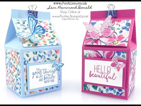 """Pretty Floral 2.5"""" Milk Carton Tutorial using Garden Impressions from Stampin' Up!"""
