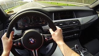 BMW M5 F10 in Action Acceleration Kickdown Shift down Onboard POV exhaust Sound wheel spin Best Sc