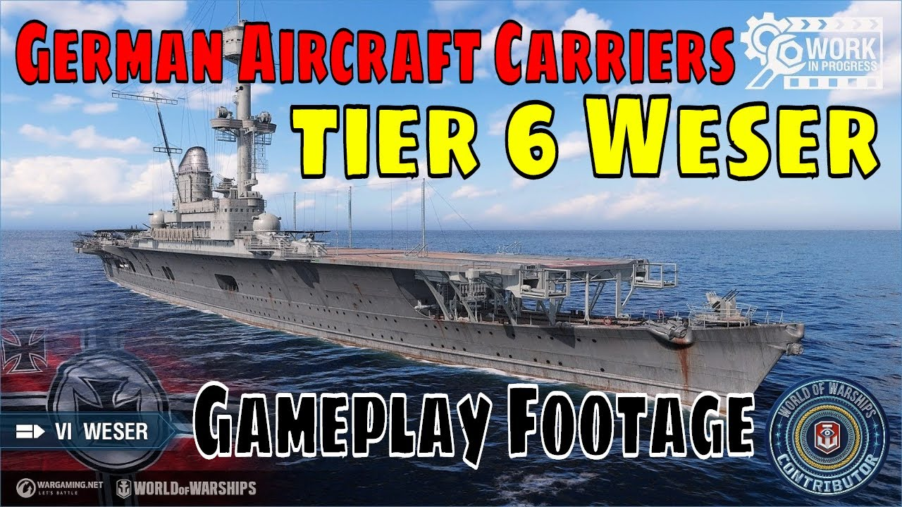 German Aircraft Carriers Weser World of Warships Wows CV Line Gameplay - YouTube