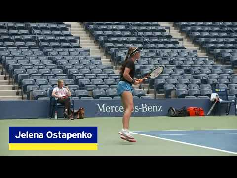 Jeļena Ostapenko Practices Before Her R3 Match At The 2018 US Open.