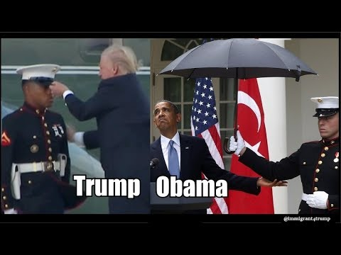 Trump Vs Obama with marines, Trump is the MODERN DAY PRESIDENTIAL