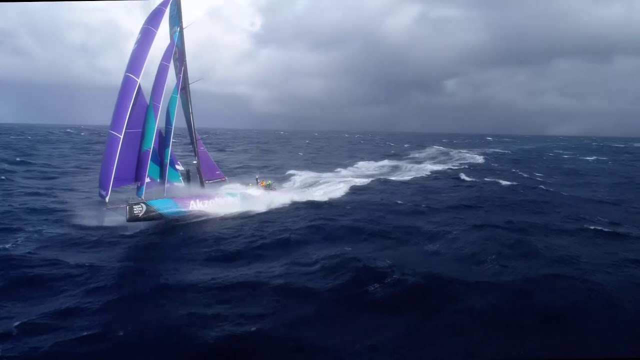 Drone shots of AkzoNobel surfing fast in big wind, triple-heading.
