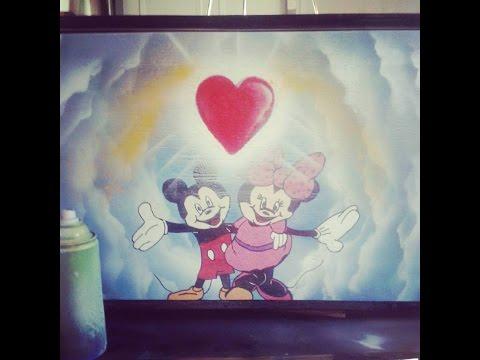 Disney Minnie Mickey Wood Toy Box coat and Spray Paint