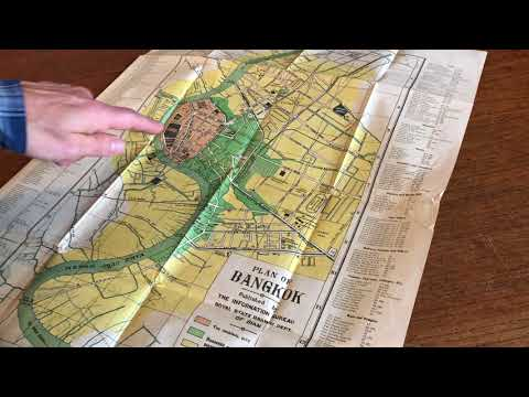 Bangkok Thailand Siam 1925-30 city plan large color detailed key old city banks