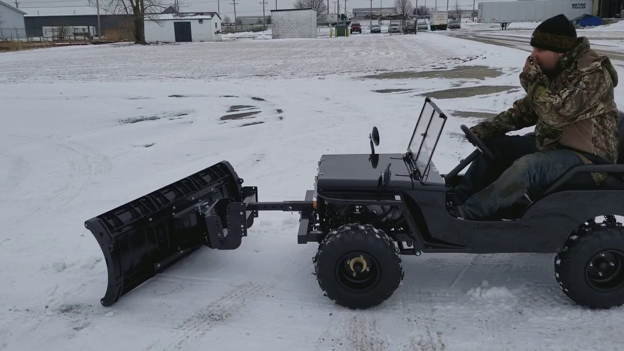 Jeep With Plow >> Detailed Mini jeep UTV Utility Vehicle Golf Cart With Snow Plow - YouTube