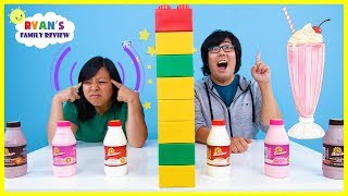Twin Telepathy Milkshake Challenge with Ryan's Mommy vs Daddy!