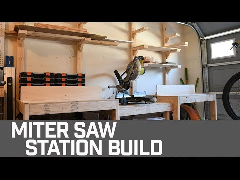 HOW TO // Simple Miter Saw Station (with Wood Storage)