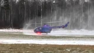 На вертолетных лыжах по снегу