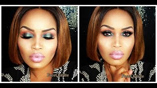 Green Smokey Eye & Nude Lips Makeup Tutorial