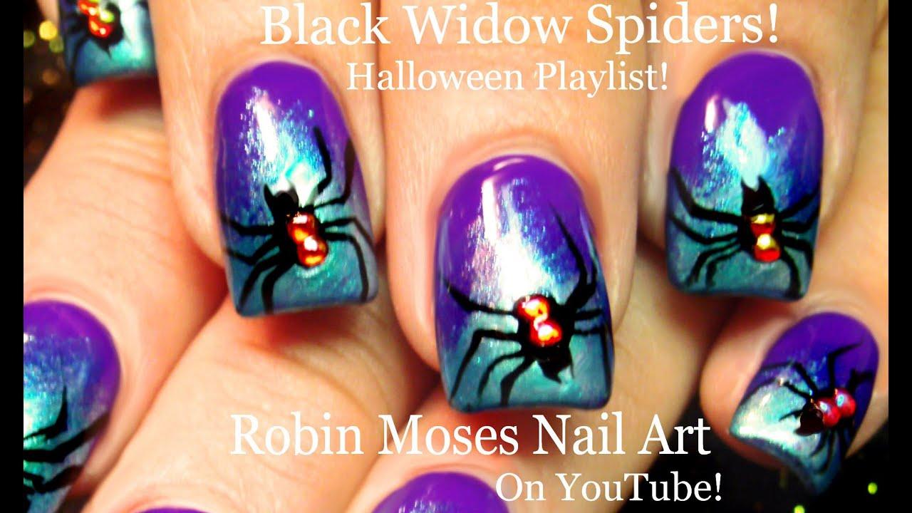 Halloween nails cute black widow spiders nail art design halloween nails cute black widow spiders nail art design tutorial youtube prinsesfo Gallery