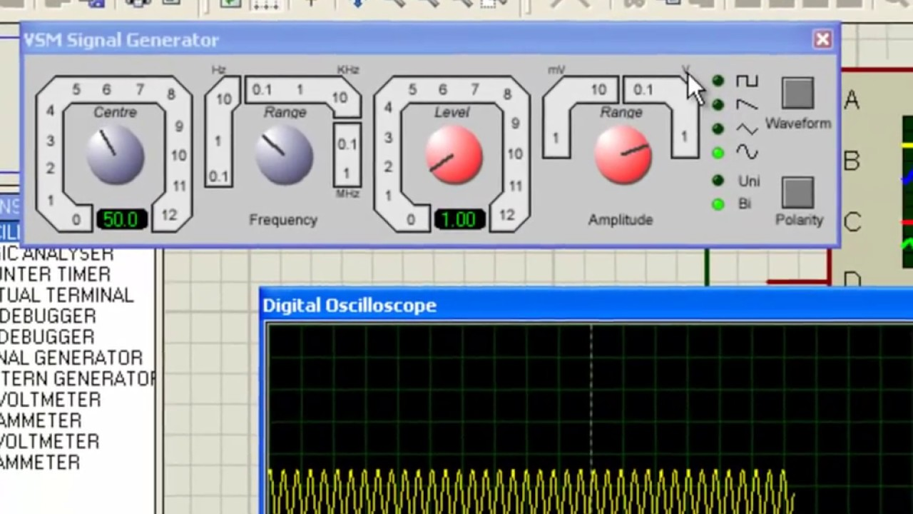 How To Use Signal Generator And Oscilloscope In Proteus