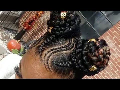 Two Buns Feed In Braids Youtube
