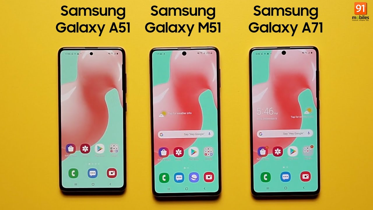 Samsung Galaxy M51 Vs Galaxy A51 Vs Galaxy A71 Full Comparison Camera Comparison Battery Charging Youtube