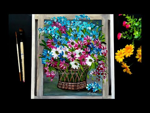 Step by Step acrylic painting on canvas for beginners | Daisy flower painting tutorial | Floral art thumbnail