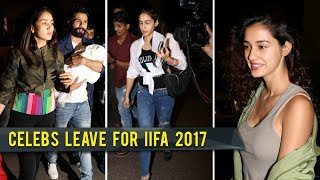 Shahid - Mira, Misha, Disha Patani, Saif With Kids Leave For Nyc Iifa 2017
