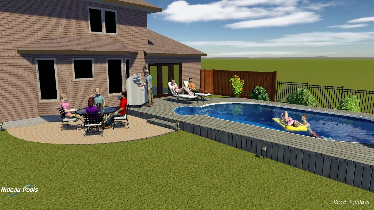 15 X 27 Semi Inground With Wooden Deck By Rideau Pools