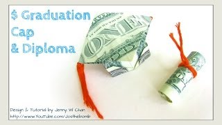 DIY How to Fold $2 Money Origami Graduation Cap & Diploma - Dollar Origami Graduation Gift Idea