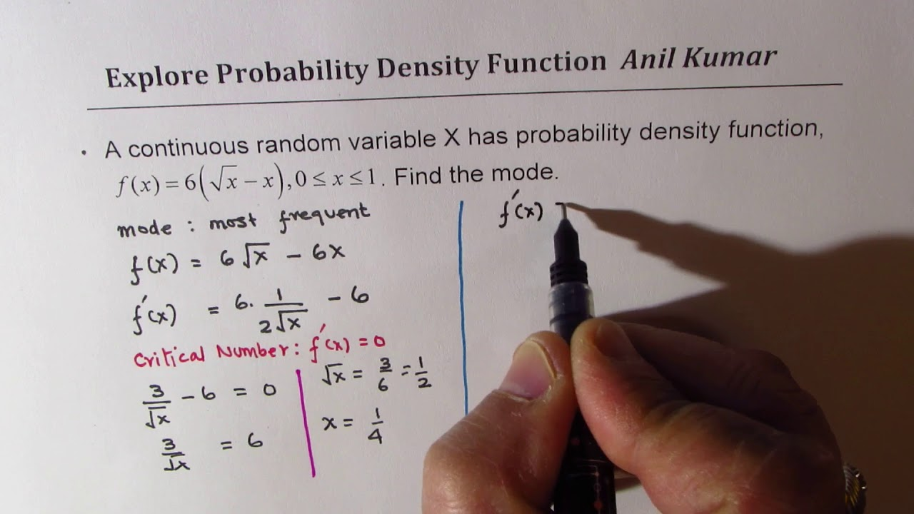 How to Find Mode from the Probability Density Function 6(sqrt x - x)