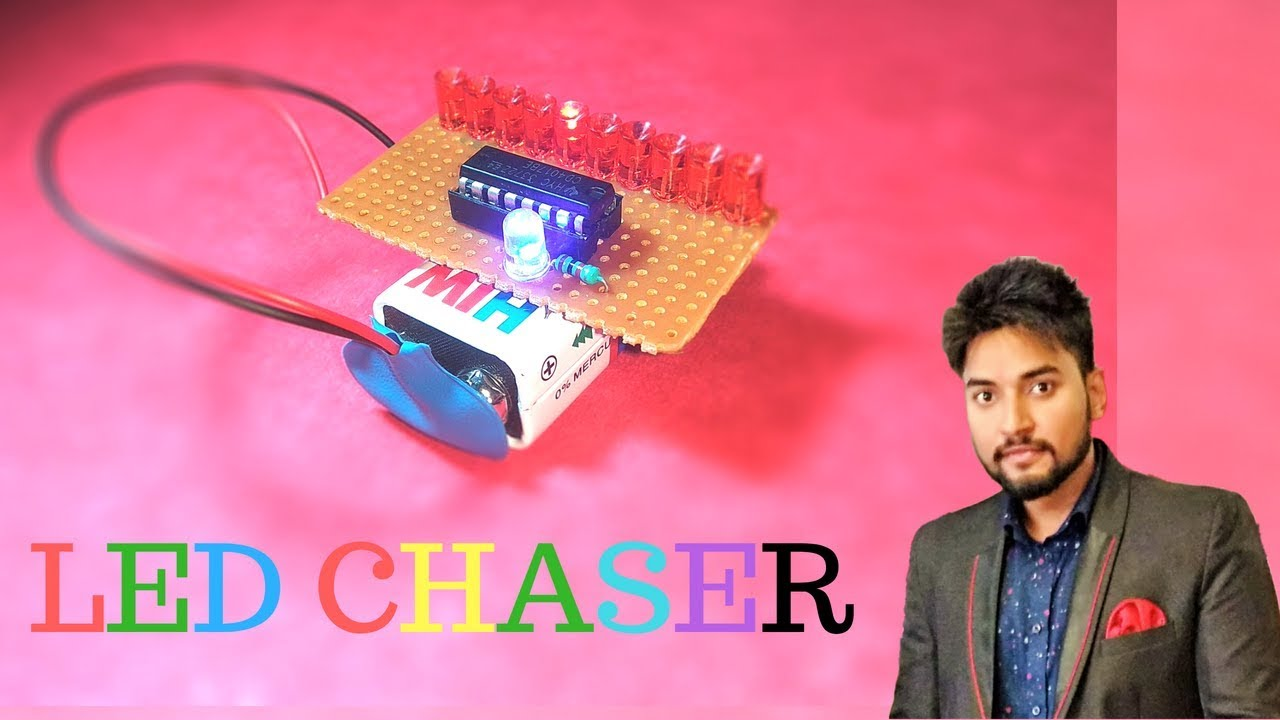 How To Make 10 Led Chaser Circuit Using Rgb Makelogy Youtube Sound Light Converter Diagram