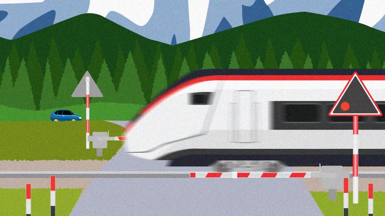 Railroad crossing Switzerland スイスの踏切と電車のアニメ