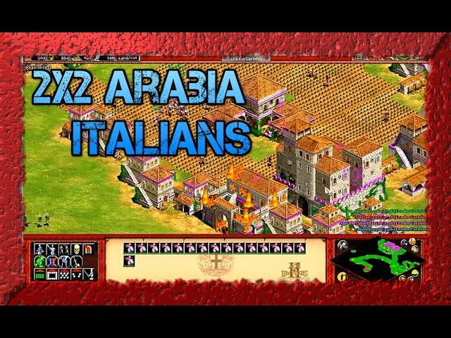 Age of Empires 2 HD 2x2 Green Arabia Italians Gameplay AoE2HD PT BR