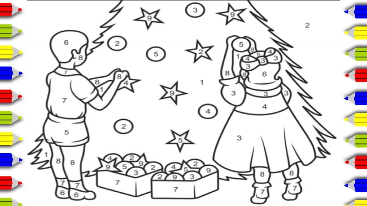 Coloring Christmas Tree Coloring By Numbers Coloring Pages For