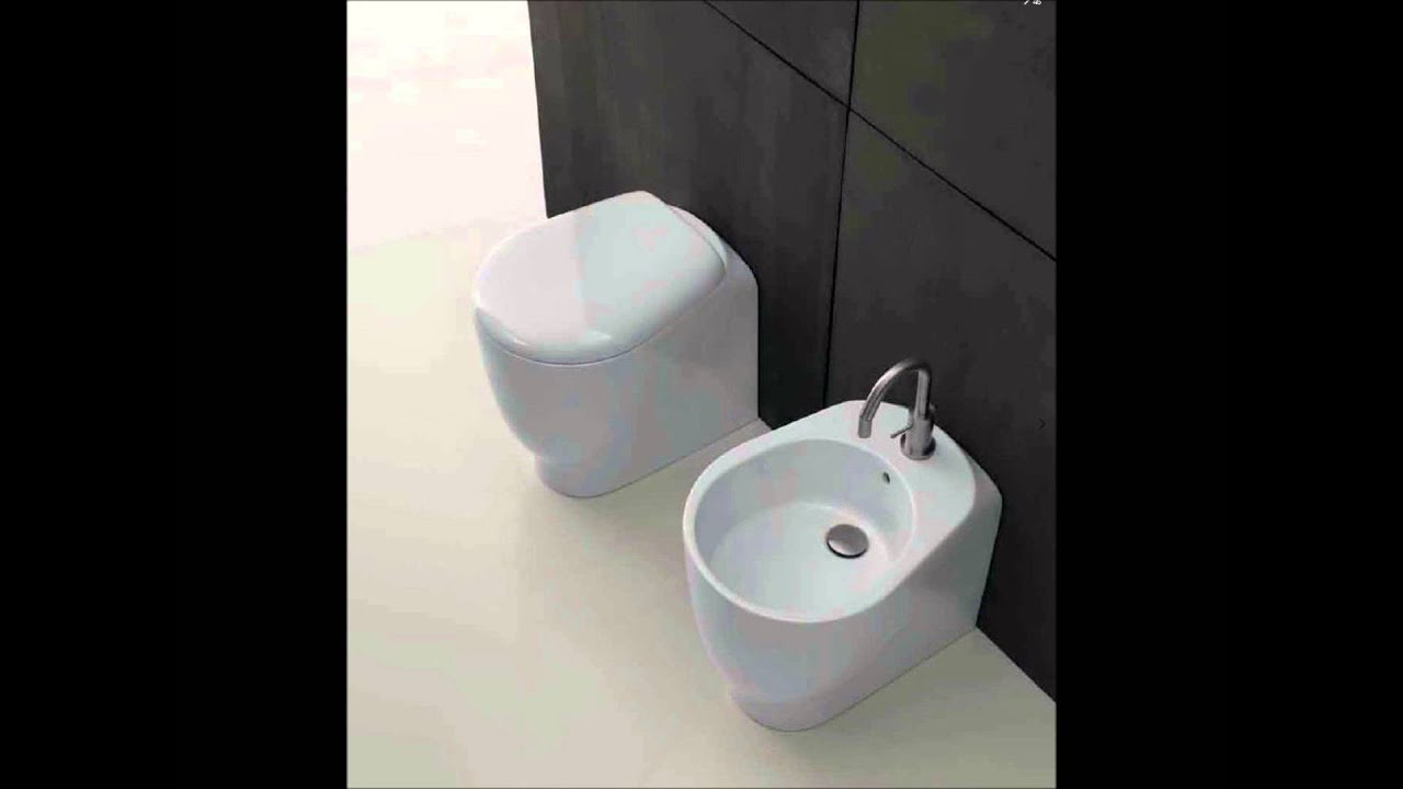 Sanitari Bagno design wc e bidet normal - YouTube