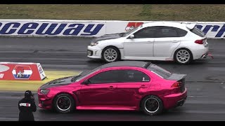 MITSUBISHI EVO vs SUBARU STI /WRX AND A FEW AMERICAN MUSCLE CARS WHOOPING ASS!