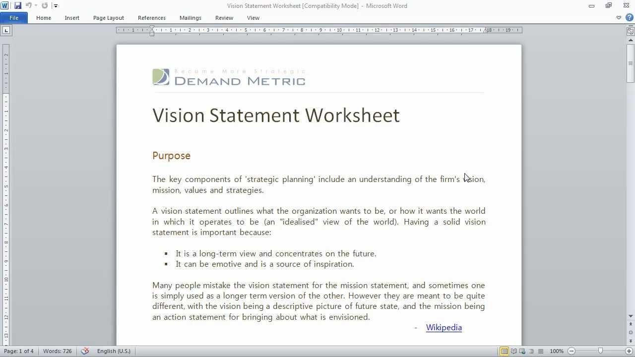 Vision Statement Worksheet Youtube