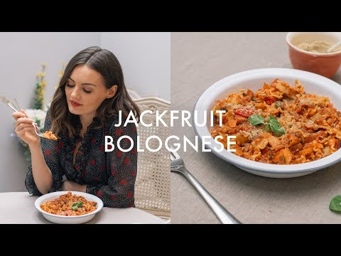 Vegan Jackfruit Bolognese Pasta with Almond Parmesan