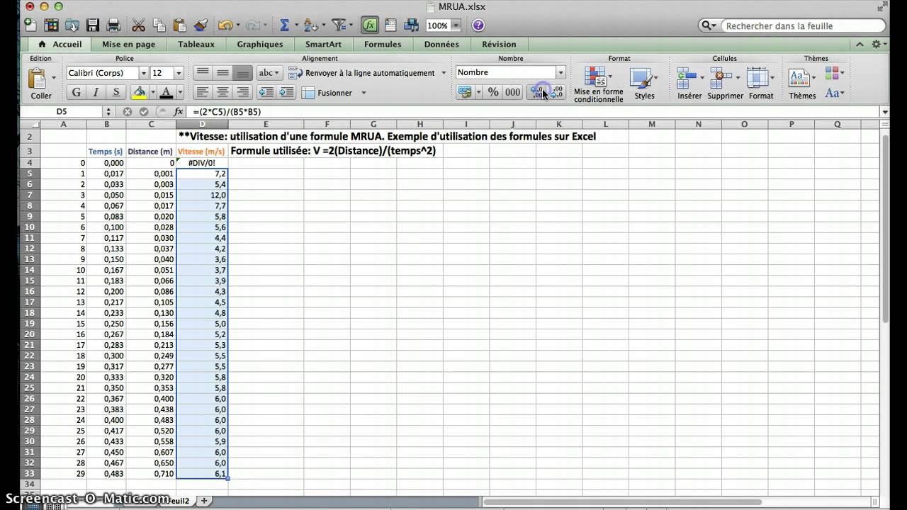 Physique 5. Formules sur Excel - YouTube