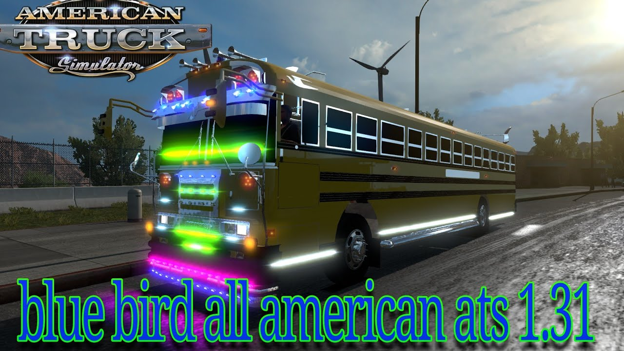 BLUE BIRD SCHOOL BUS BRAND all american tc2000 | mod american truck  simulator 1 31| descargar mod