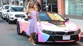 Paris Hilton Shows Off Her Incredible Custom BMW i8 During A Visit To The Spa