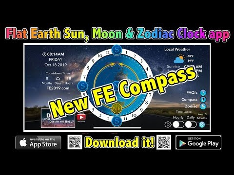 Flat Earth Sun, Moon & Zodiac Clock app with NEW compass. thumbnail