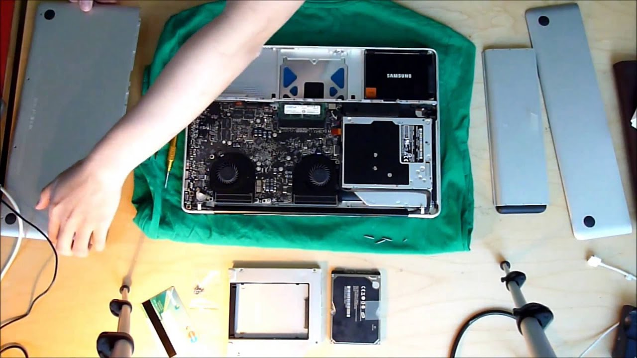 How to install HDD Caddy Macbook Pro Unibody Late 2008 / 2009 with Samsung  830 SSD