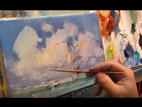 How to paint a seascape with a sailboat oil. English comments, subtitles.
