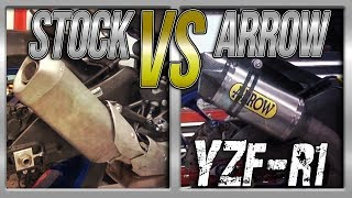 15-17Yamaha YZF-R1 Stock Exhaust vs Arrow Competition Full Exhaust Sound Comparison