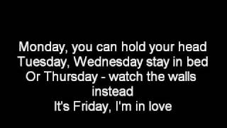 the cure its friday im in love lyrics