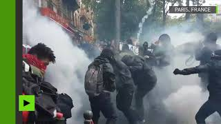#Grève12septembre : jets de projectiles et gaz lacrymogènes pendant la manifestation à Paris