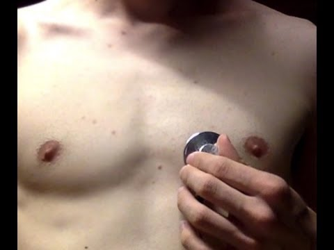 Auscultation of my visible and fast heartbeat with sound