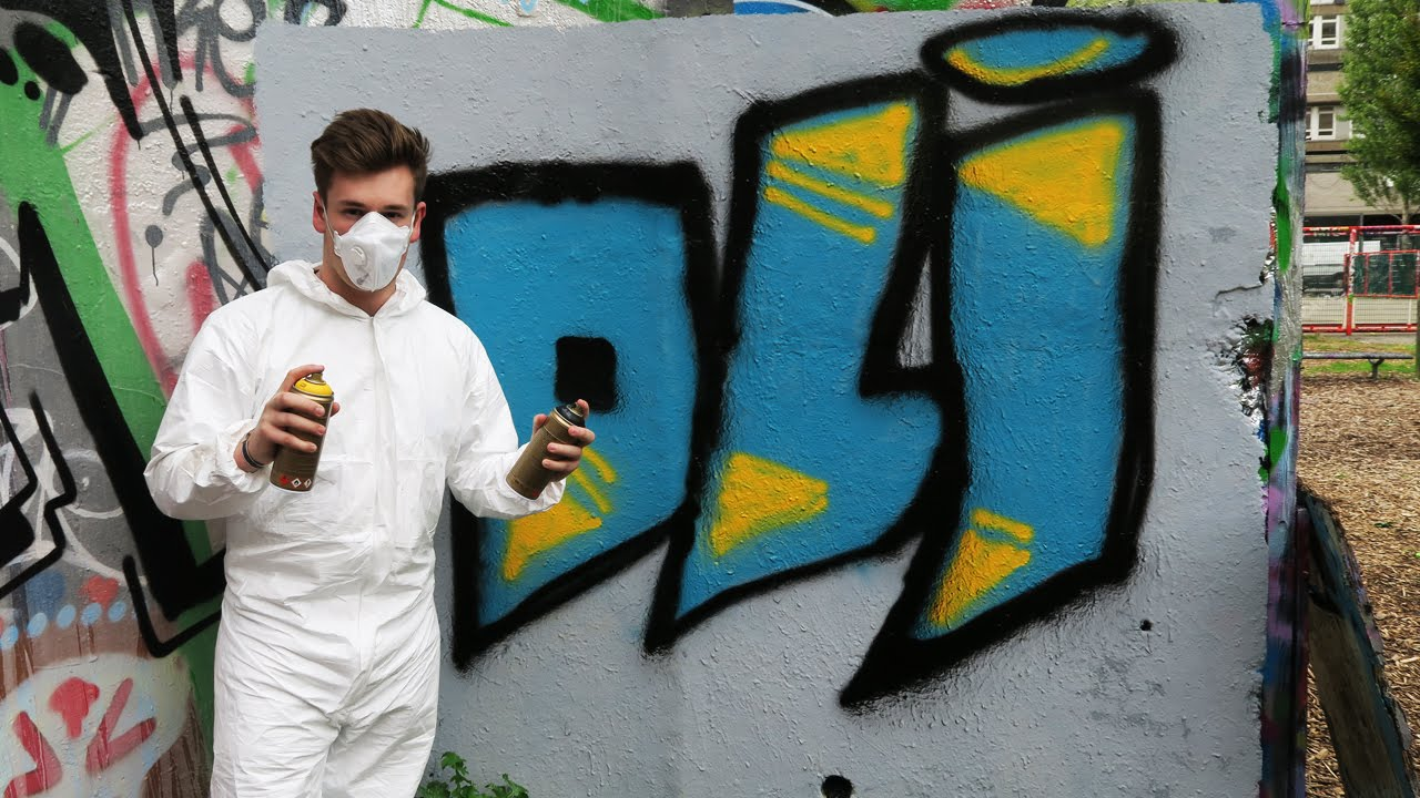 SPRAY PAINTING MY NAME ON A WALL & SPRAY PAINTING MY NAME ON A WALL - YouTube