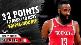 James Harden Triple-Double - 2018.12.15 - Rockets vs Grizzlies - 32 Pts, 12 Rebs, 10 Asts